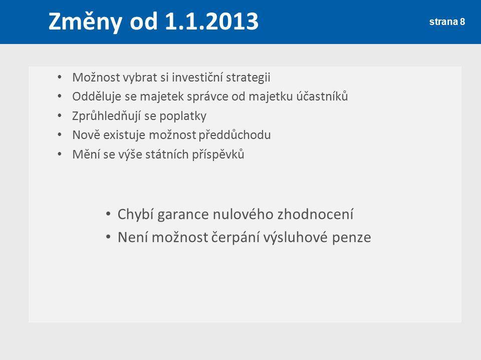 Změny od 1.1.2013 strana 8 Možnost vybrat si investiční strategii Odděluje se majetek správce od majetku účastníků Zprůhledňují se poplatky Nově exist