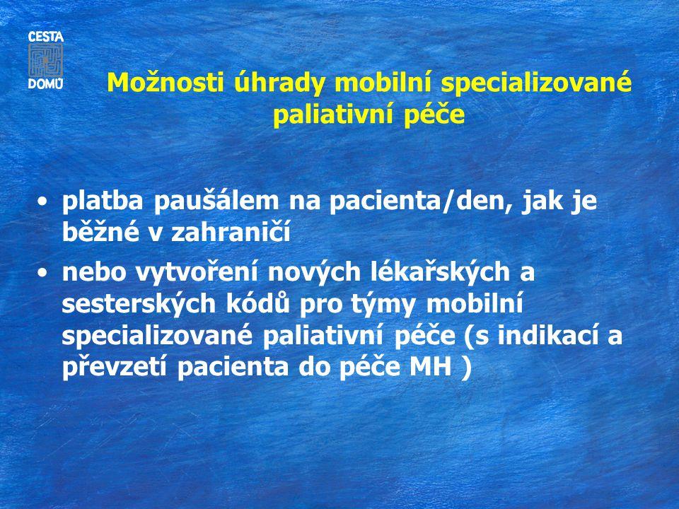 Možnosti úhrady mobilní specializované paliativní péče platba paušálem na pacienta/den, jak je běžné v zahraničí nebo vytvoření nových lékařských a sesterských kódů pro týmy mobilní specializované paliativní péče (s indikací a převzetí pacienta do péče MH )