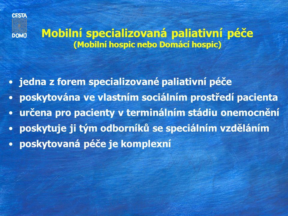 Mobilní specializovaná paliativní péče (Mobilní hospic nebo Domácí hospic) jedna z forem specializované paliativní péče poskytována ve vlastním sociálním prostředí pacienta určena pro pacienty v terminálním stádiu onemocnění poskytuje ji tým odborníků se speciálním vzděláním poskytovaná péče je komplexní