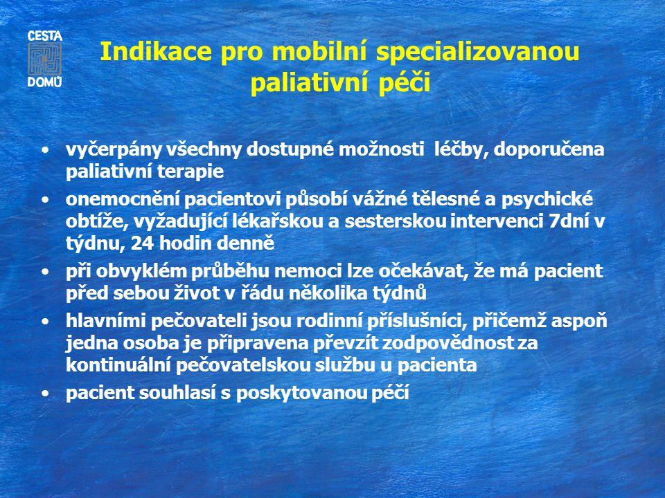 Indikace pro mobilní specializovanou paliativní péči vyčerpány všechny dostupné možnosti léčby, doporučena paliativní terapie onemocnění pacientovi pů