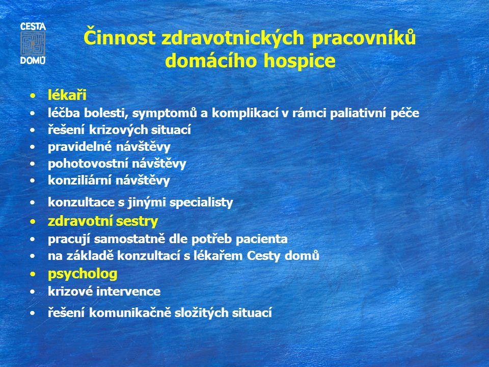 Činnost zdravotnických pracovníků domácího hospice lékaři léčba bolesti, symptomů a komplikací v rámci paliativní péče řešení krizových situací pravid