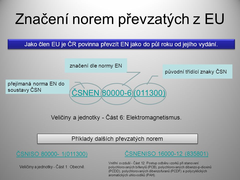 Značení norem převzatých z EU ČSNEN 80000-6 (011300) přejímaná norma EN do soustavy ČSN značení dle normy EN původní třídící znaky ČSN Veličiny a jedn