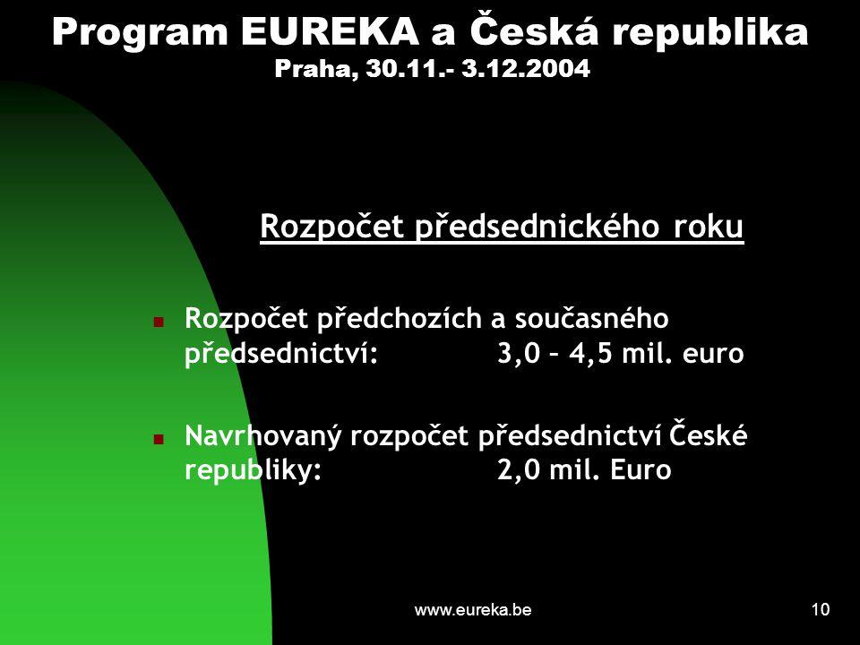 www.eureka.be10 Program EUREKA a Česká republika Praha, 30.11.- 3.12.2004 Rozpočet předsednického roku Rozpočet předchozích a současného předsednictví: 3,0 – 4,5 mil.