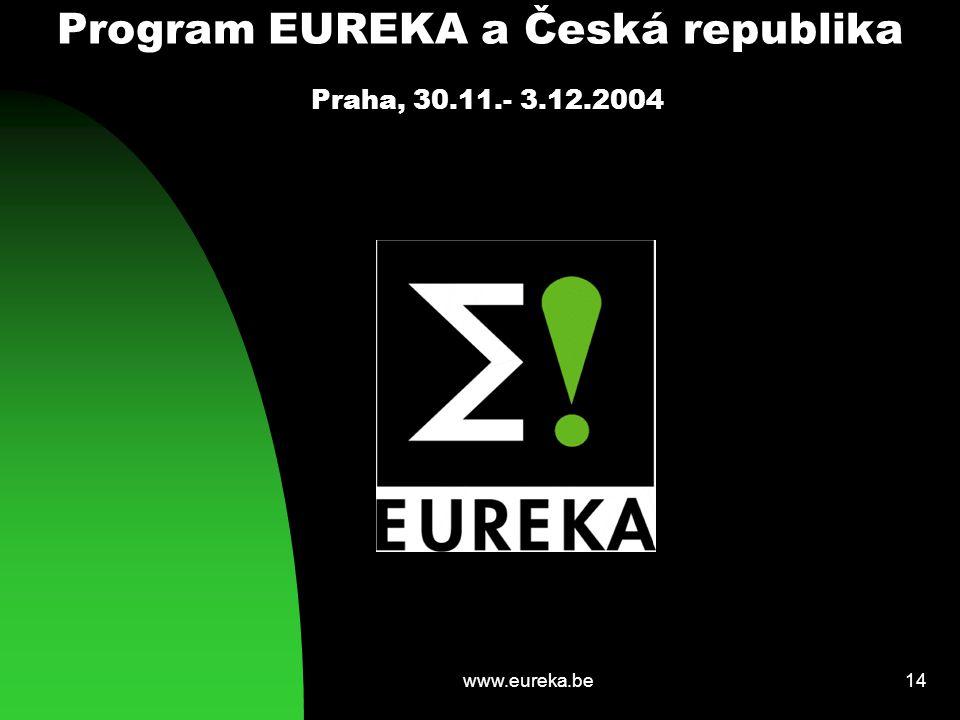 www.eureka.be14 Program EUREKA a Česká republika Praha, 30.11.- 3.12.2004
