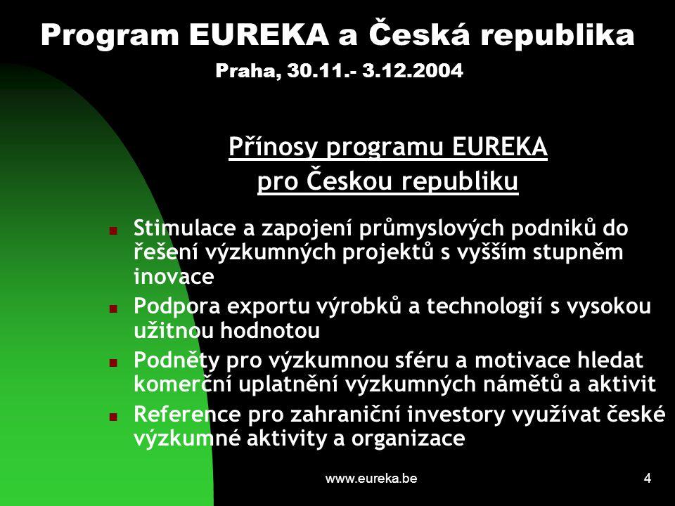 www.eureka.be4 Program EUREKA a Česká republika Praha, 30.11.- 3.12.2004 Přínosy programu EUREKA pro Českou republiku Stimulace a zapojení průmyslových podniků do řešení výzkumných projektů s vyšším stupněm inovace Podpora exportu výrobků a technologií s vysokou užitnou hodnotou Podněty pro výzkumnou sféru a motivace hledat komerční uplatnění výzkumných námětů a aktivit Reference pro zahraniční investory využívat české výzkumné aktivity a organizace