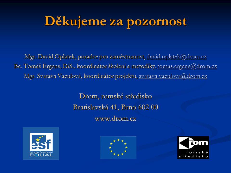 Děkujeme za pozornost Mgr. David Oplatek, poradce pro zaměstnanost, david.oplatek@drom.cz david.oplatek@drom.cz Bc. Tomáš Ergens, DiS., koordinátor šk
