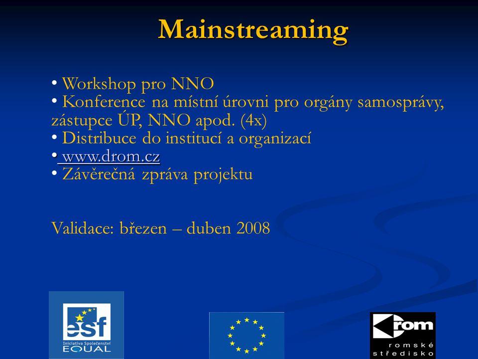 Mainstreaming Workshop pro NNO Konference na místní úrovni pro orgány samosprávy, zástupce ÚP, NNO apod. (4x) Distribuce do institucí a organizací www