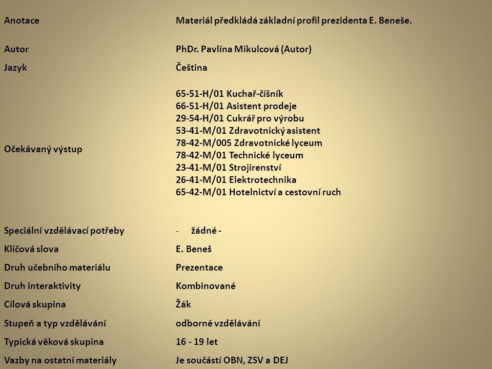 AnotaceMateriál předkládá základní profil prezidenta E. Beneše. AutorPhDr. Pavlína Mikulcová (Autor) JazykČeština Očekávaný výstup 65-51-H/01 Kuchař-č