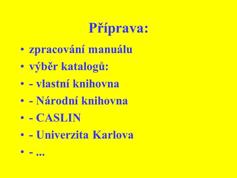 Příprava: zpracování manuálu výběr katalogů: - vlastní knihovna - Národní knihovna - CASLIN - Univerzita Karlova -...