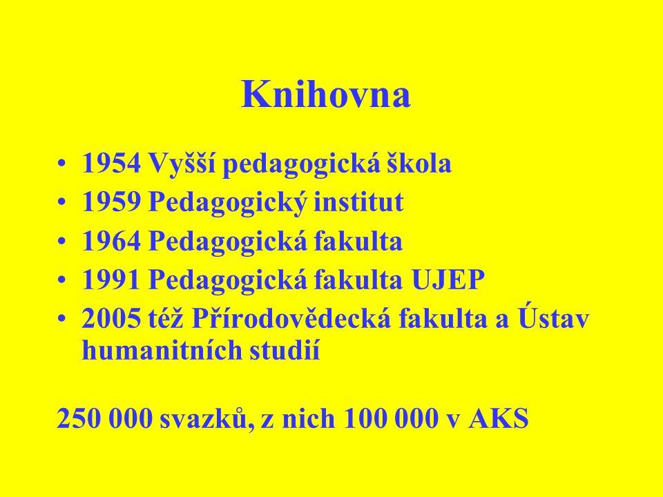 Knihovna 1954 Vyšší pedagogická škola 1959 Pedagogický institut 1964 Pedagogická fakulta 1991 Pedagogická fakulta UJEP 2005 též Přírodovědecká fakulta a Ústav humanitních studií 250 000 svazků, z nich 100 000 v AKS