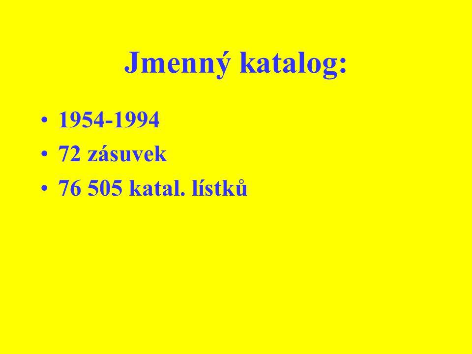 Jmenný katalog: 1954-1994 72 zásuvek 76 505 katal. lístků