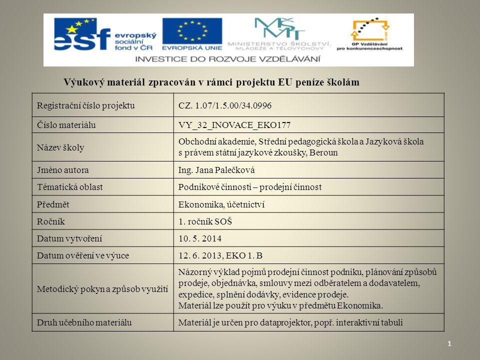 Obsah  Schéma prodejní činnosti  Plánování způsobů prodeje  Kupní smlouva  Skladování, expedice, splnění dodávky  Evidence prodeje  Kontrolní otázky  Použité zdroje 2