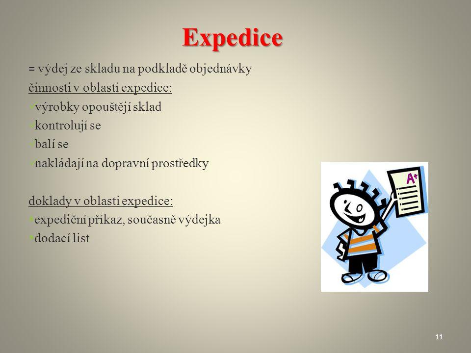 Expedice = výdej ze skladu na podkladě objednávky činnosti v oblasti expedice: výrobky opouštějí sklad kontrolují se balí se nakládají na dopravní pro