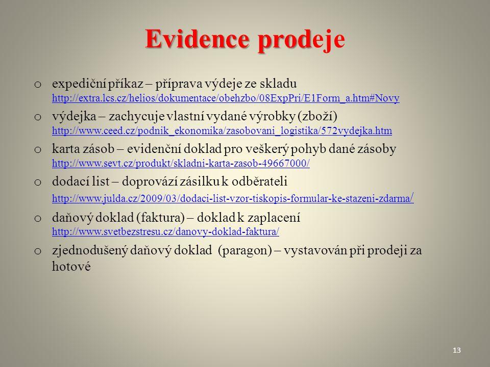 Evidence prod Evidence prodeje o expediční příkaz – příprava výdeje ze skladu http://extra.lcs.cz/helios/dokumentace/obehzbo/08ExpPri/E1Form_a.htm#Nov