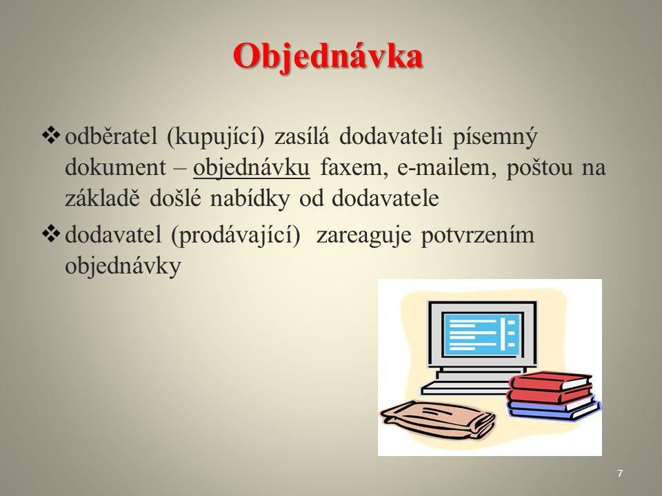 Objednávka  odběratel (kupující) zasílá dodavateli písemný dokument – objednávku faxem, e-mailem, poštou na základě došlé nabídky od dodavatele  dod