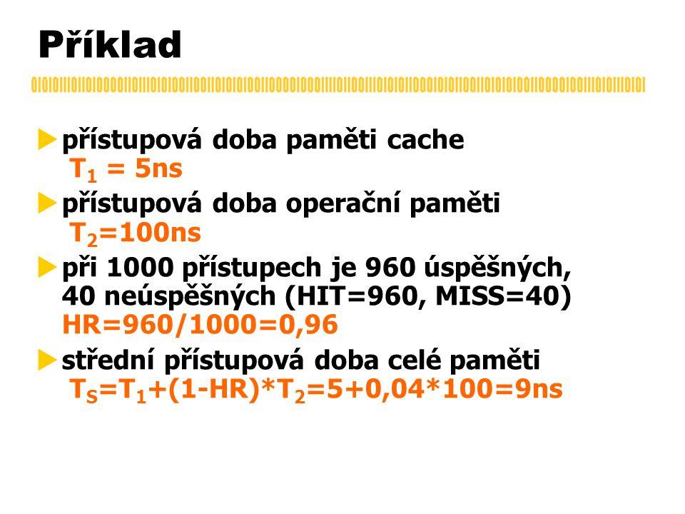 Příklad  přístupová doba paměti cache T 1 = 5ns  přístupová doba operační paměti T 2 =100ns  při 1000 přístupech je 960 úspěšných, 40 neúspěšných (HIT=960, MISS=40) HR=960/1000=0,96  střední přístupová doba celé paměti T S =T 1 +(1-HR)*T 2 =5+0,04*100=9ns