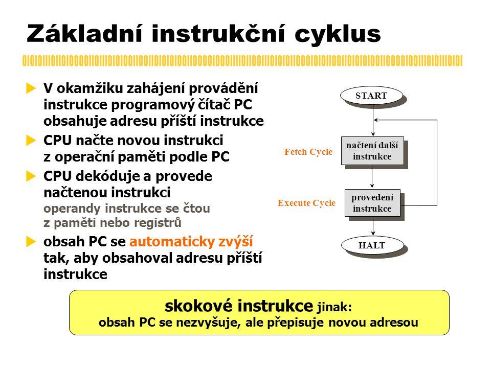 Základní instrukční cyklus  V okamžiku zahájení provádění instrukce programový čítač PC obsahuje adresu příští instrukce  CPU načte novou instrukci z operační paměti podle PC  CPU dekóduje a provede načtenou instrukci operandy instrukce se čtou z paměti nebo registrů  obsah PC se automaticky zvýší tak, aby obsahoval adresu příští instrukce skokové instrukce jinak: obsah PC se nezvyšuje, ale přepisuje novou adresou START načtení další instrukce provedení instrukce Fetch Cycle Execute Cycle HALT