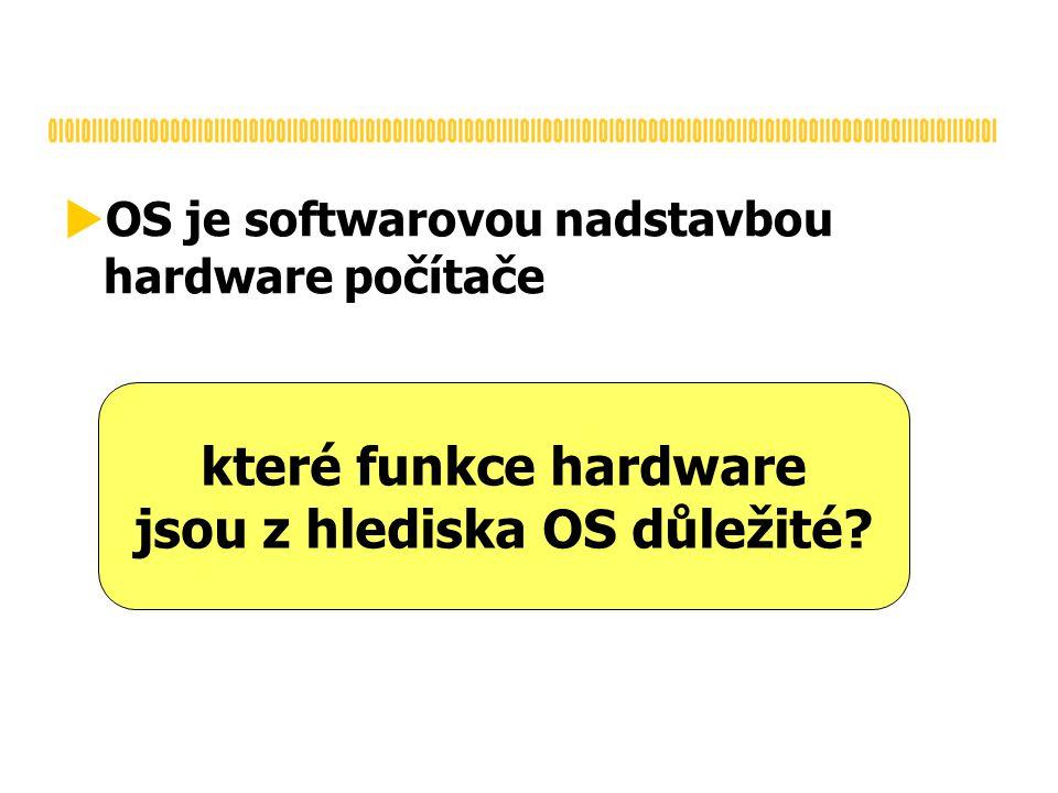  OS je softwarovou nadstavbou hardware počítače které funkce hardware jsou z hlediska OS důležité