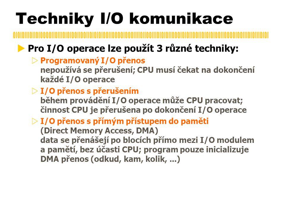 Techniky I/O komunikace  Pro I/O operace lze použít 3 různé techniky:  Programovaný I/O přenos nepoužívá se přerušení; CPU musí čekat na dokončení každé I/O operace  I/O přenos s přerušením během provádění I/O operace může CPU pracovat; činnost CPU je přerušena po dokončení I/O operace  I/O přenos s přímým přístupem do paměti (Direct Memory Access, DMA) data se přenášejí po blocích přímo mezi I/O modulem a pamětí, bez účasti CPU; program pouze inicializuje DMA přenos (odkud, kam, kolik,...)