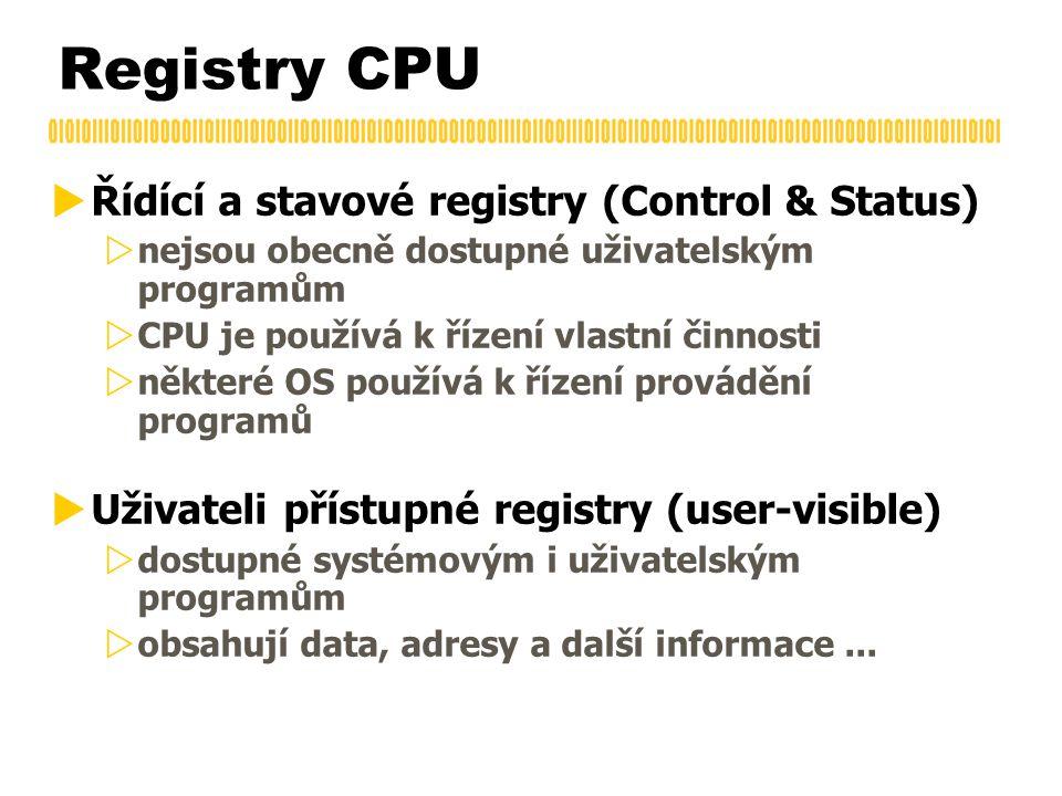 Registry CPU  Řídící a stavové registry (Control & Status)  nejsou obecně dostupné uživatelským programům  CPU je používá k řízení vlastní činnosti  některé OS používá k řízení provádění programů  Uživateli přístupné registry (user-visible)  dostupné systémovým i uživatelským programům  obsahují data, adresy a další informace...