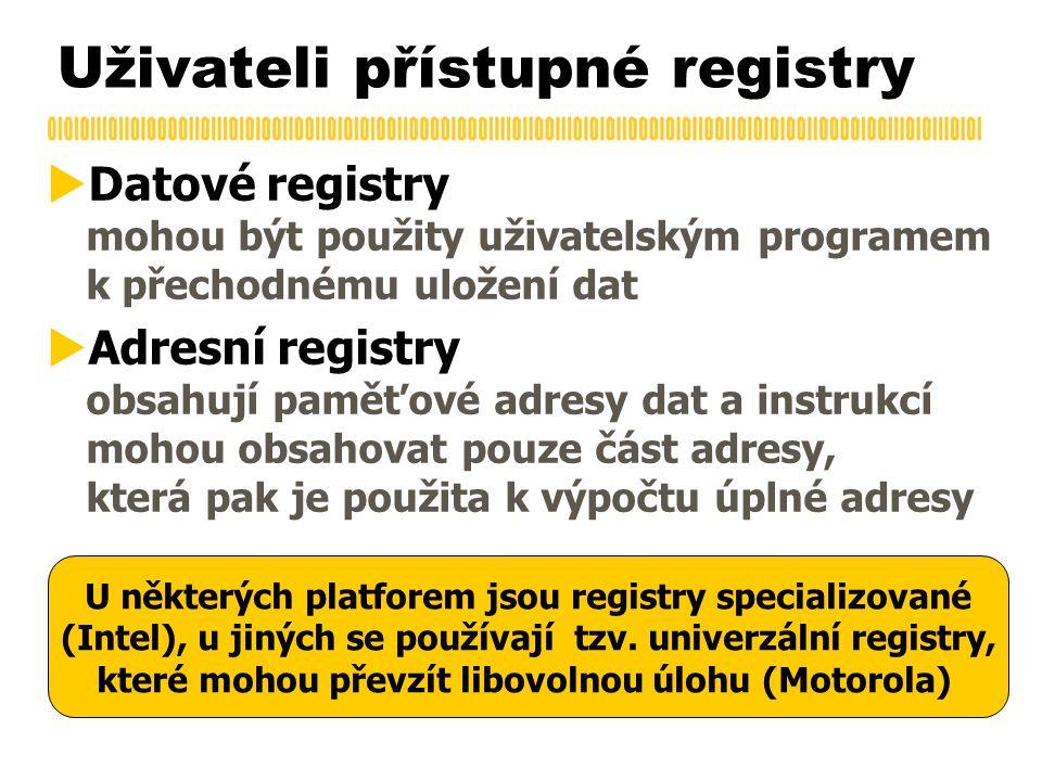 Uživateli přístupné registry  Datové registry mohou být použity uživatelským programem k přechodnému uložení dat  Adresní registry obsahují paměťové adresy dat a instrukcí mohou obsahovat pouze část adresy, která pak je použita k výpočtu úplné adresy U některých platforem jsou registry specializované (Intel), u jiných se používají tzv.