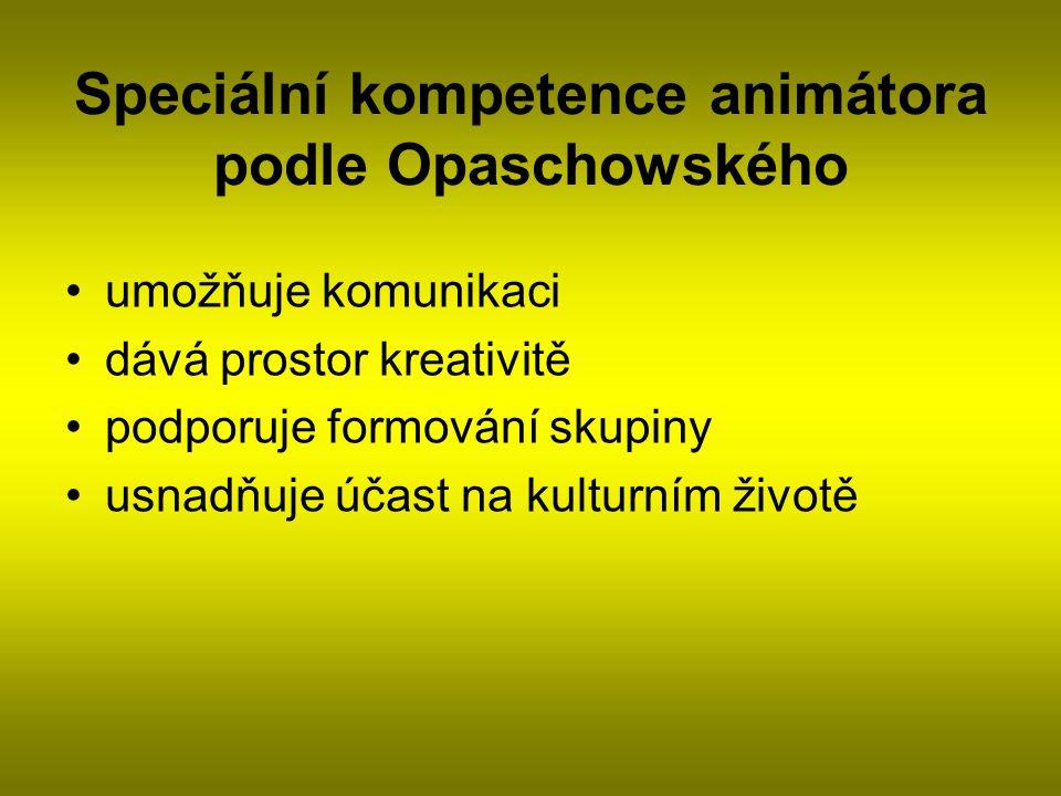 Speciální kompetence animátora podle Opaschowského umožňuje komunikaci dává prostor kreativitě podporuje formování skupiny usnadňuje účast na kulturním životě