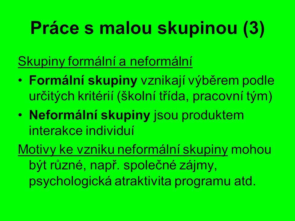 Práce s malou skupinou (3) Skupiny formální a neformální Formální skupiny vznikají výběrem podle určitých kritérií (školní třída, pracovní tým) Neform