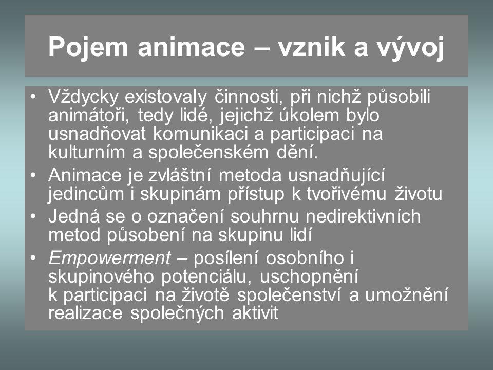 Pojem animace – vznik a vývoj Vždycky existovaly činnosti, při nichž působili animátoři, tedy lidé, jejichž úkolem bylo usnadňovat komunikaci a participaci na kulturním a společenském dění.
