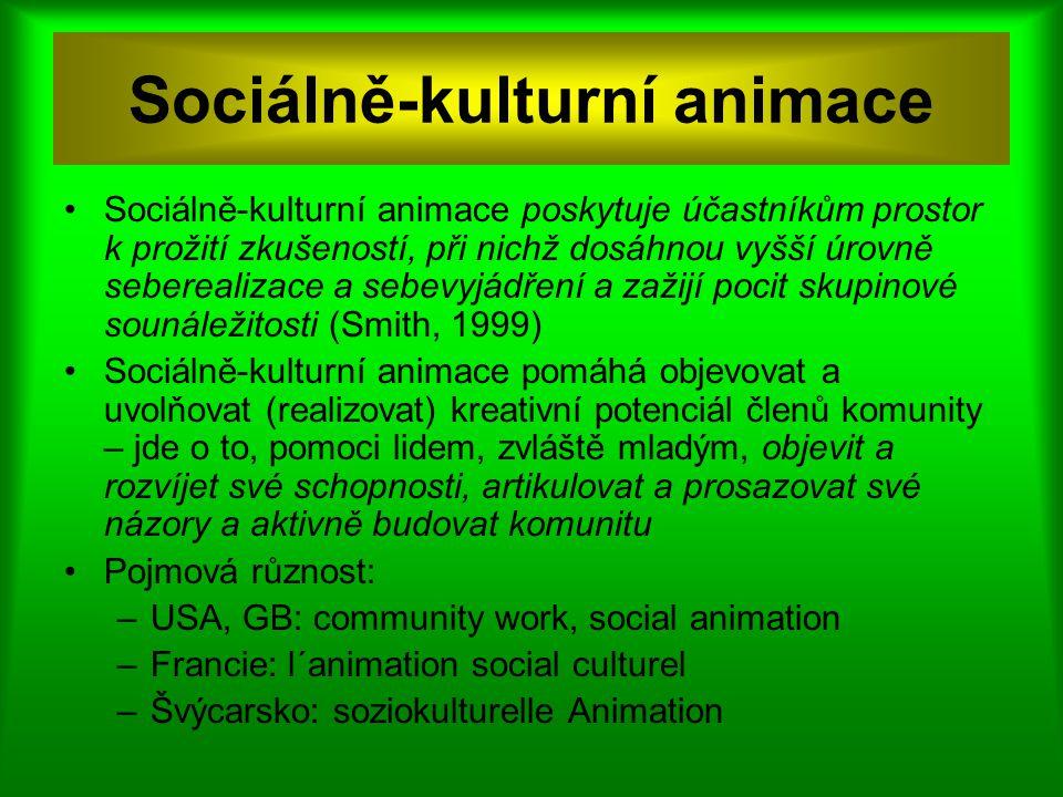 Sociálně-kulturní animace Sociálně-kulturní animace poskytuje účastníkům prostor k prožití zkušeností, při nichž dosáhnou vyšší úrovně seberealizace a sebevyjádření a zažijí pocit skupinové sounáležitosti (Smith, 1999) Sociálně-kulturní animace pomáhá objevovat a uvolňovat (realizovat) kreativní potenciál členů komunity – jde o to, pomoci lidem, zvláště mladým, objevit a rozvíjet své schopnosti, artikulovat a prosazovat své názory a aktivně budovat komunitu Pojmová různost: –USA, GB: community work, social animation –Francie: l´animation social culturel –Švýcarsko: soziokulturelle Animation