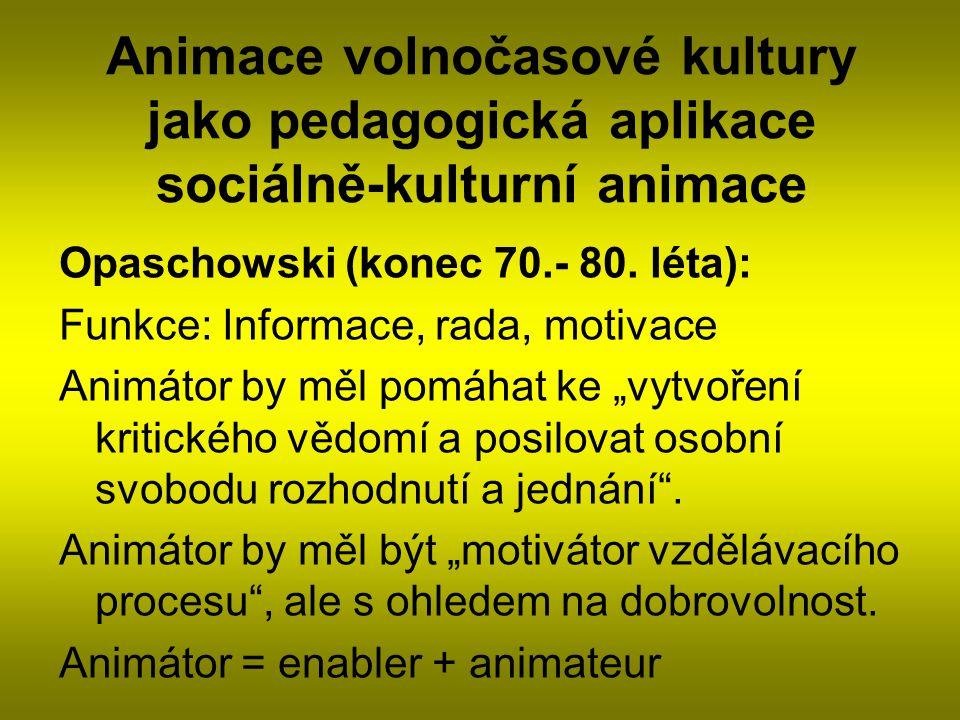 Animace volnočasové kultury jako pedagogická aplikace sociálně-kulturní animace Opaschowski (konec 70.- 80. léta): Funkce: Informace, rada, motivace A