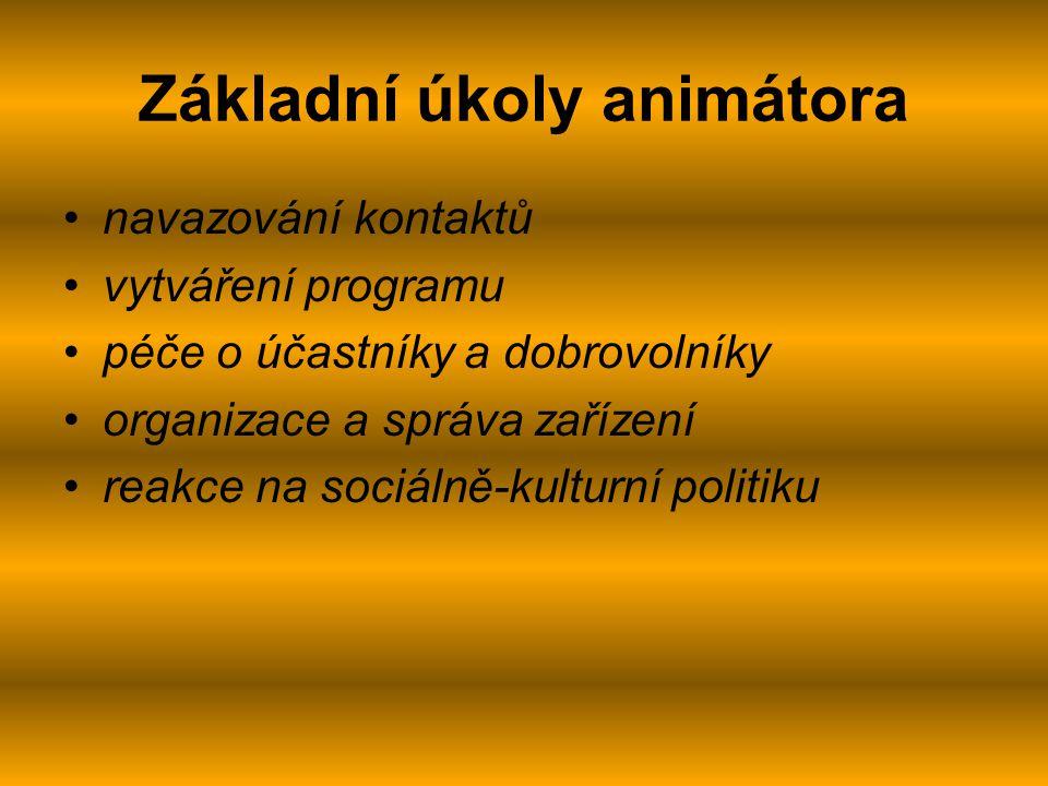 Základní úkoly animátora navazování kontaktů vytváření programu péče o účastníky a dobrovolníky organizace a správa zařízení reakce na sociálně-kulturní politiku