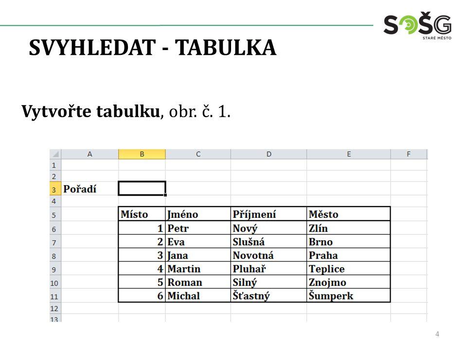 SVYHLEDAT - TABULKA Vytvořte tabulku, obr. č. 1. 4