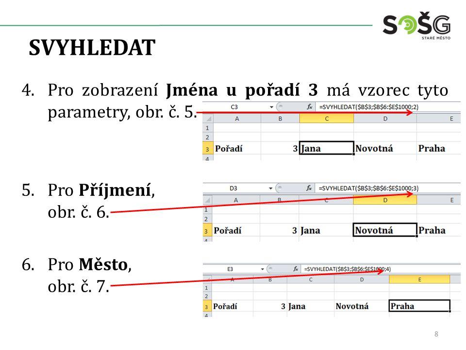 SVYHLEDAT 4.Pro zobrazení Jména u pořadí 3 má vzorec tyto parametry, obr.