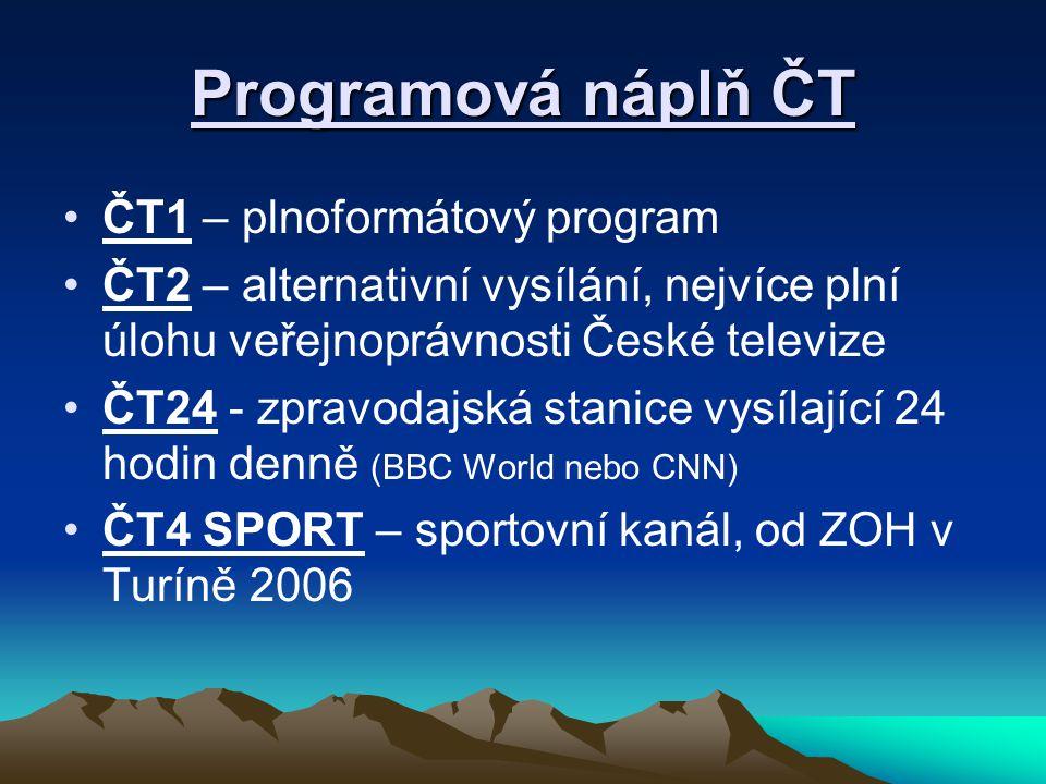 Programová náplň ČT ČT1 – plnoformátový program ČT2 – alternativní vysílání, nejvíce plní úlohu veřejnoprávnosti České televize ČT24 - zpravodajská stanice vysílající 24 hodin denně (BBC World nebo CNN) ČT4 SPORT – sportovní kanál, od ZOH v Turíně 2006