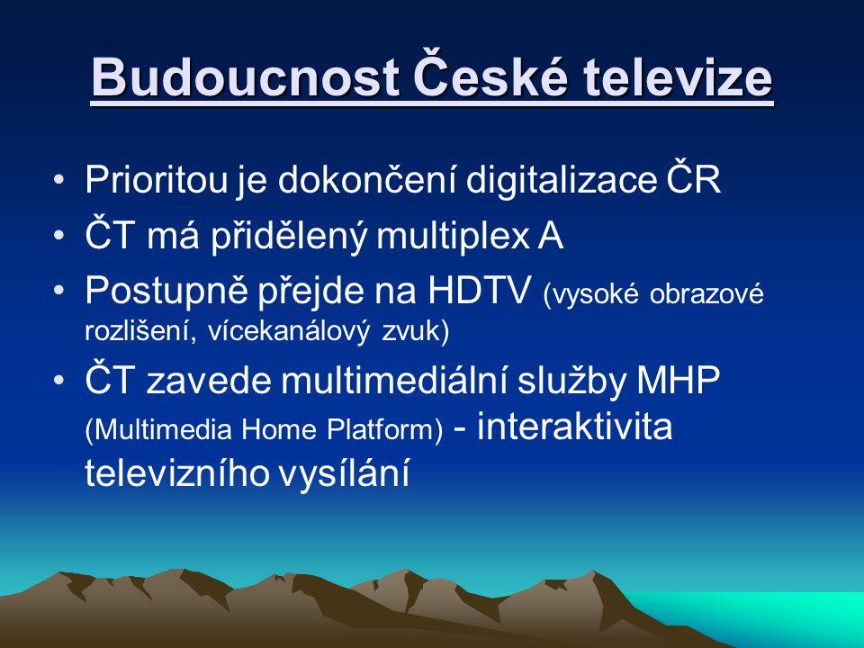 Budoucnost České televize Prioritou je dokončení digitalizace ČR ČT má přidělený multiplex A Postupně přejde na HDTV (vysoké obrazové rozlišení, vícekanálový zvuk) ČT zavede multimediální služby MHP (Multimedia Home Platform) - interaktivita televizního vysílání