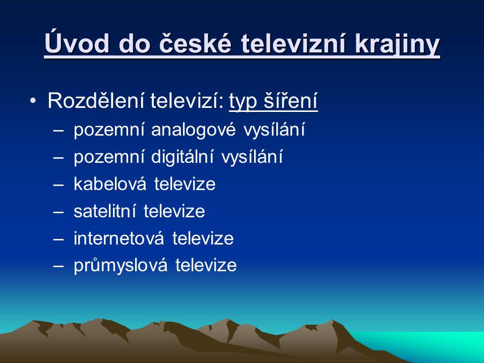 Úvod do české televizní krajiny Rozdělení televizí: typ šíření – pozemní analogové vysílání – pozemní digitální vysílání – kabelová televize – satelitní televize – internetová televize – průmyslová televize