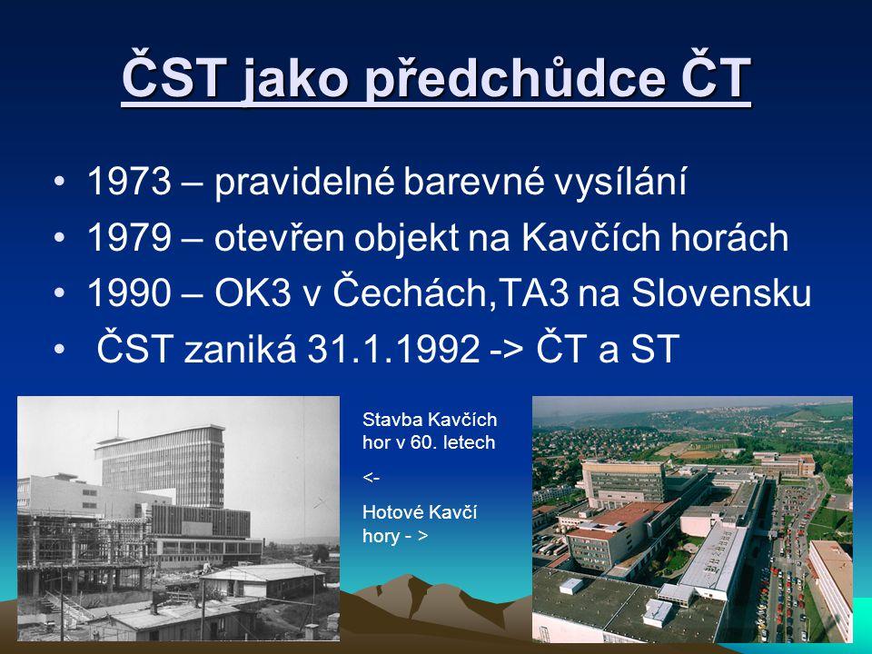 ČST jako předchůdce ČT 1973 – pravidelné barevné vysílání 1979 – otevřen objekt na Kavčích horách 1990 – OK3 v Čechách,TA3 na Slovensku ČST zaniká 31.1.1992 -> ČT a ST Stavba Kavčích hor v 60.