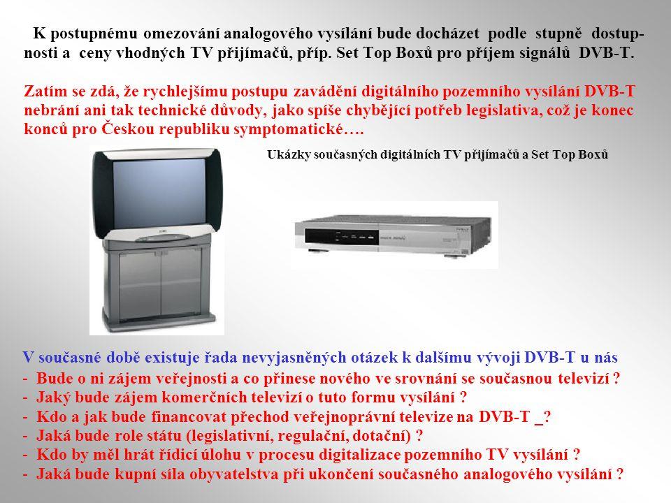 K postupnému omezování analogového vysílání bude docházet podle stupně dostup- nosti a ceny vhodných TV přijímačů, příp.