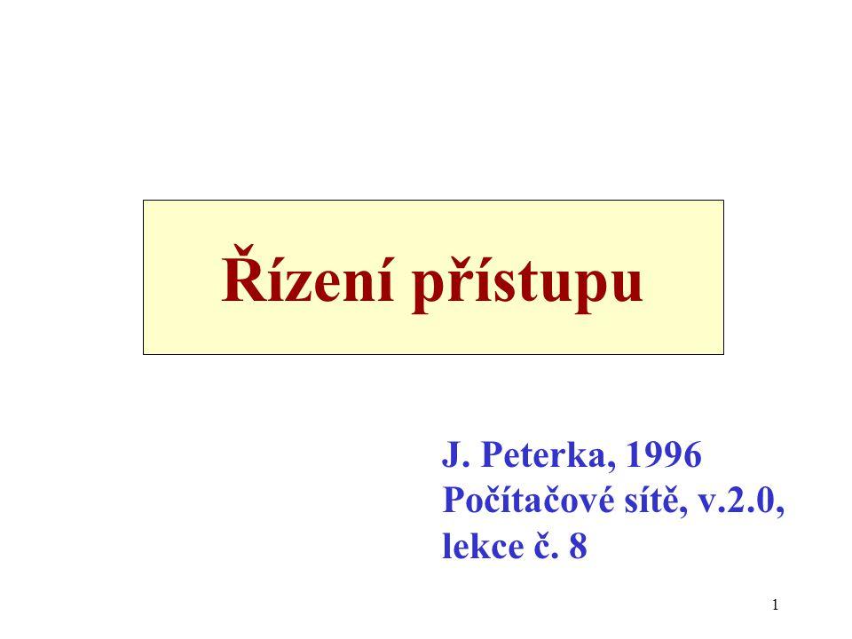1 Řízení přístupu J. Peterka, 1996 Počítačové sítě, v.2.0, lekce č. 8