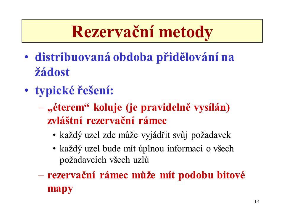 """14 Rezervační metody distribuovaná obdoba přidělování na žádost typické řešení: –""""éterem koluje (je pravidelně vysílán) zvláštní rezervační rámec každý uzel zde může vyjádřit svůj požadavek každý uzel bude mít úplnou informaci o všech požadavcích všech uzlů –rezervační rámec může mít podobu bitové mapy"""