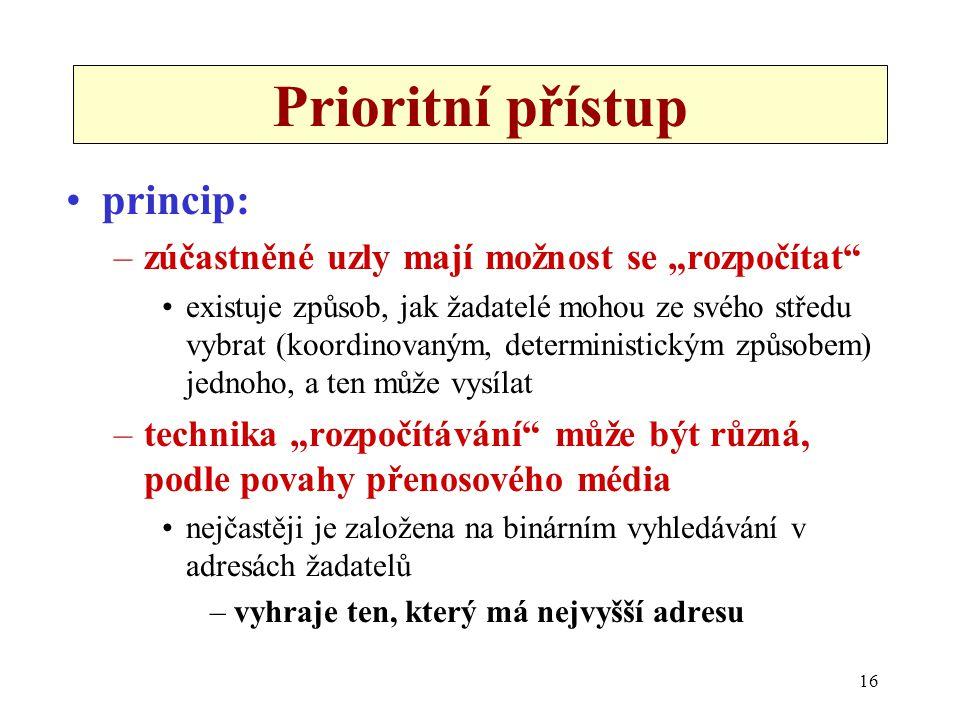 """16 Prioritní přístup princip: –zúčastněné uzly mají možnost se """"rozpočítat existuje způsob, jak žadatelé mohou ze svého středu vybrat (koordinovaným, deterministickým způsobem) jednoho, a ten může vysílat –technika """"rozpočítávání může být různá, podle povahy přenosového média nejčastěji je založena na binárním vyhledávání v adresách žadatelů –vyhraje ten, který má nejvyšší adresu"""