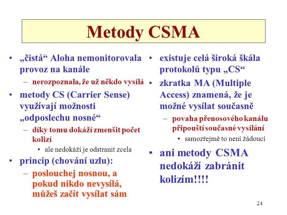 """24 Metody CSMA """"čistá Aloha nemonitorovala provoz na kanále –nerozpoznala, že už někdo vysílá metody CS (Carrier Sense) využívají možnosti """"odposlechu nosné –díky tomu dokáží zmenšit počet kolizí ale nedokáží je odstranit zcela princip (chování uzlu): –poslouchej nosnou, a pokud nikdo nevysílá, můžeš začít vysílat sám existuje celá široká škála protokolů typu """"CS zkratka MA (Multiple Access) znamená, že je možné vysílat současně –povaha přenosového kanálu připouští současné vysílání samozřejmě to není žádoucí ani metody CSMA nedokáží zabránit kolizím!!!!"""