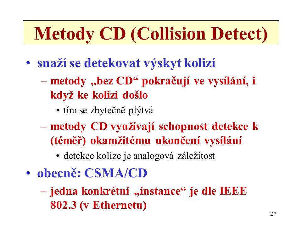 """27 Metody CD (Collision Detect) snaží se detekovat výskyt kolizí –metody """"bez CD pokračují ve vysílání, i když ke kolizi došlo tím se zbytečně plýtvá –metody CD využívají schopnost detekce k (téměř) okamžitému ukončení vysílání detekce kolize je analogová záležitost obecně: CSMA/CD –jedna konkrétní """"instance je dle IEEE 802.3 (v Ethernetu)"""