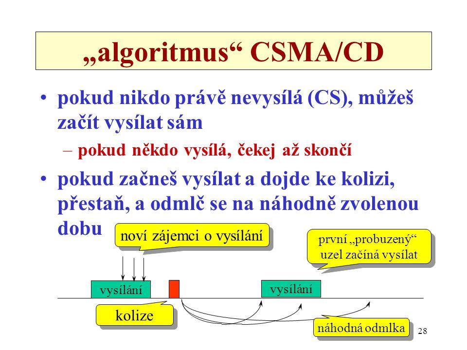 """28 """"algoritmus"""" CSMA/CD pokud nikdo právě nevysílá (CS), můžeš začít vysílat sám –pokud někdo vysílá, čekej až skončí pokud začneš vysílat a dojde ke"""