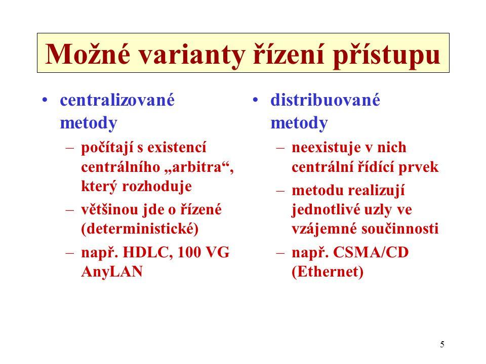 """5 Možné varianty řízení přístupu centralizované metody –počítají s existencí centrálního """"arbitra , který rozhoduje –většinou jde o řízené (deterministické) –např."""