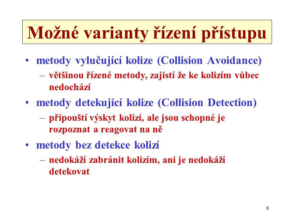 6 Možné varianty řízení přístupu metody vylučující kolize (Collision Avoidance) –většinou řízené metody, zajistí že ke kolizím vůbec nedochází metody detekující kolize (Collision Detection) –připouští výskyt kolizí, ale jsou schopné je rozpoznat a reagovat na ně metody bez detekce kolizí –nedokáží zabránit kolizím, ani je nedokáží detekovat