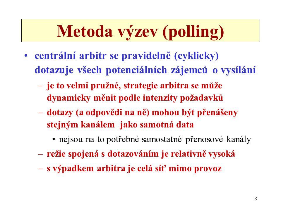 8 Metoda výzev (polling) centrální arbitr se pravidelně (cyklicky) dotazuje všech potenciálních zájemců o vysílání –je to velmi pružné, strategie arbitra se může dynamicky měnit podle intenzity požadavků –dotazy (a odpovědi na ně) mohou být přenášeny stejným kanálem jako samotná data nejsou na to potřebné samostatné přenosové kanály –režie spojená s dotazováním je relativně vysoká –s výpadkem arbitra je celá síť mimo provoz