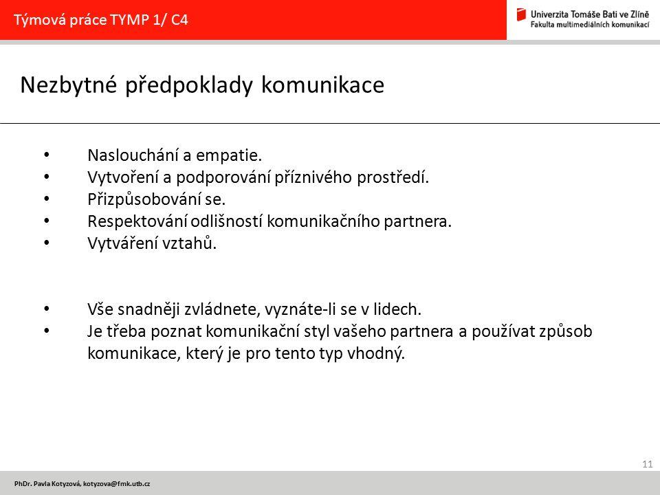 11 PhDr. Pavla Kotyzová, kotyzova@fmk.utb.cz Nezbytné předpoklady komunikace Týmová práce TYMP 1/ C4 Naslouchání a empatie. Vytvoření a podporování př
