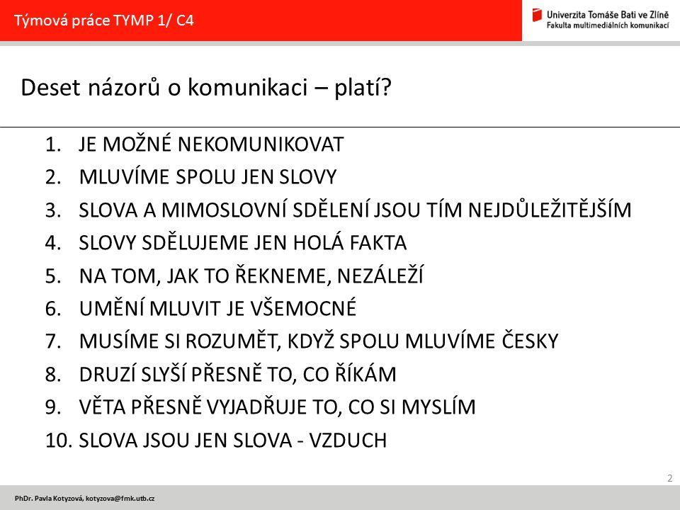 2 PhDr. Pavla Kotyzová, kotyzova@fmk.utb.cz Deset názorů o komunikaci – platí? Týmová práce TYMP 1/ C4 1.JE MOŽNÉ NEKOMUNIKOVAT 2.MLUVÍME SPOLU JEN SL