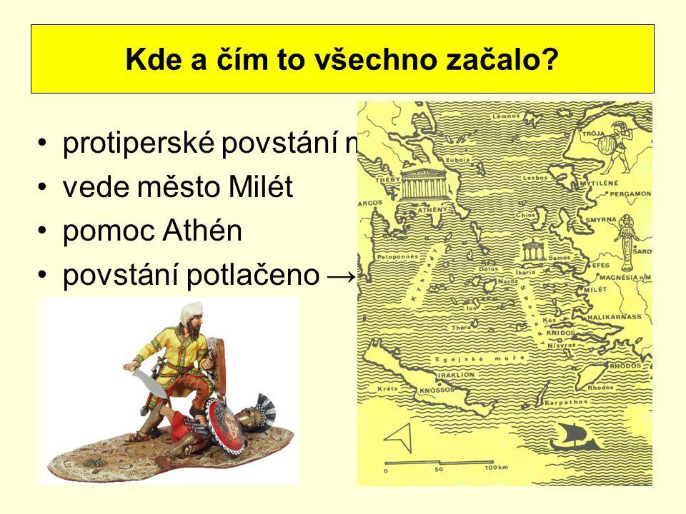 protiperské povstání maloasijských Řeků vede město Milét pomoc Athén povstání potlačeno → potrestání Athén Kde a čím to všechno začalo?